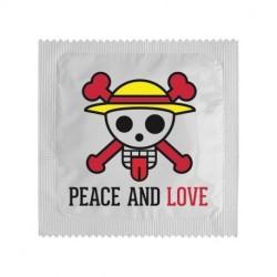 PRESERVATIF PEAC AND LOVE TETE DE MORT
